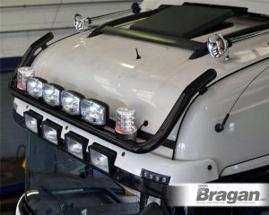 To Fit Peterbilt 579 / 587 / 389 Front Roof Light Bar Black Steel + Jumbo Spots + Clear Beacons