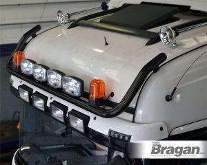 To Fit Pre 2015 MAN TGX XXL Cab Front Roof Light Bar Black Steel - Type B + Jumbo Spots + Amber Beacons
