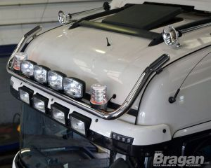 To Fit 2012+ Mercedes Actros MP4 BigSpace Cab Roof Bar + Jumbo Spots + Clear Beacons