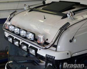 To Fit 2015+ MAN TGX Euro6 XXL Cab Roof Light Bar + Jumbo Spots + Clear Beacons